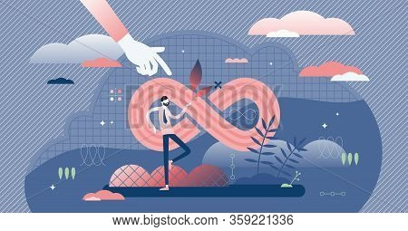 Infinity Vector Illustration. Symbolic Endless Line In Tiny Persons Concept. Abstract Futuristic Str