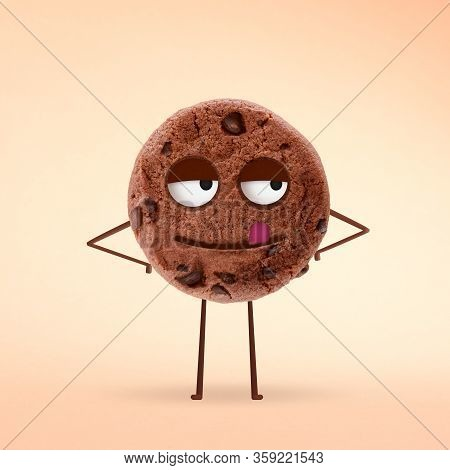 Chocolate Cookie With Yummy Face With Licking Tongue And Blissful Eyes