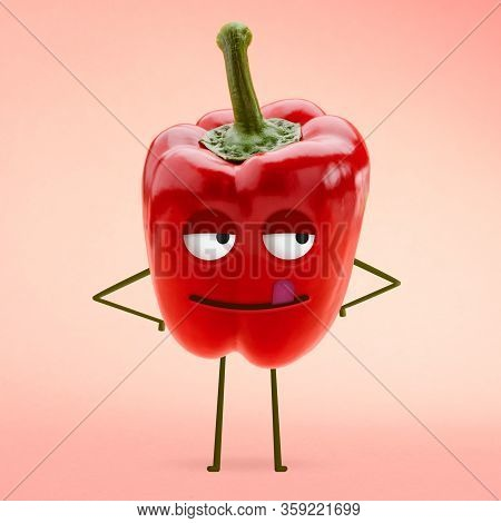 Red Bell Pepper With Yummy Face With Licking Tongue And Blissful Eyes