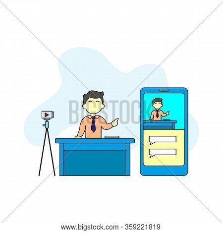 Video Blog Concept . Video Blogger Make A Vlog By Camera. Man Making Live Stream, Social Media Netwo