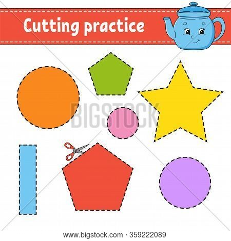 Cutting Practice For Kids. Education Developing Worksheet. Activity Page With Pictures. Color Game F