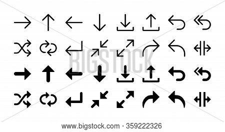 Simple Set Of Arrows Vector Glyph And Line Icons Including Right, Up, Left, Down, Download, Upload,
