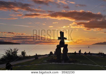Symbol - Inukshuk At English Bay, Vancouver
