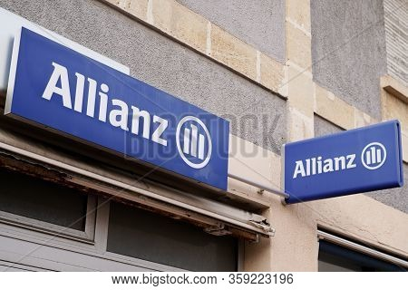 Bordeaux , Aquitaine / France - 01 15 2020 : Allianz Logo Insurance Blue Sign Store Office Brand Fin