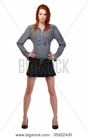 Redhead Woman Standing Isolated On White