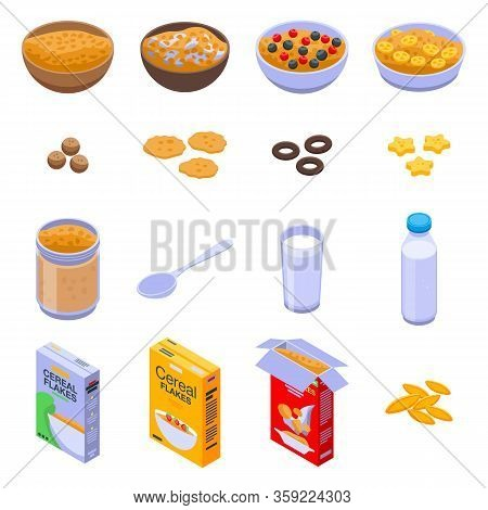 Cereal Flakes Icons Set. Isometric Set Of Cereal Flakes Vector Icons For Web Design Isolated On Whit