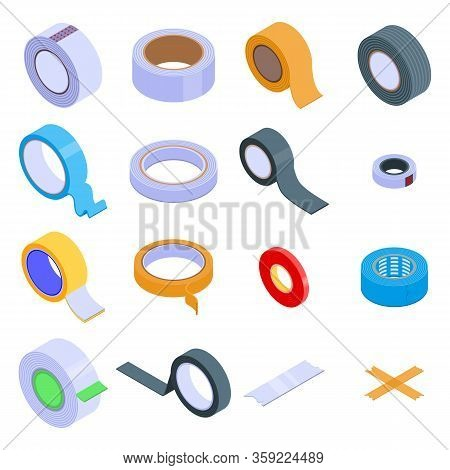 Scotch Tape Icons Set. Isometric Set Of Scotch Tape Vector Icons For Web Design Isolated On White Ba