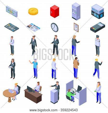 Bank Teller Icons Set. Isometric Set Of Bank Teller Vector Icons For Web Design Isolated On White Ba