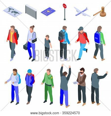 Illegal Immigrants Icons Set. Isometric Set Of Illegal Immigrants Vector Icons For Web Design Isolat