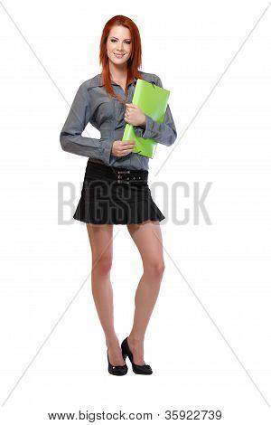 Redhead Woman Smiling In Studio