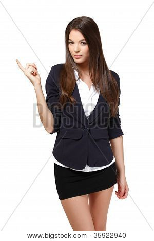 Nice Modern Businesswoman Pointing Towards Copyspace