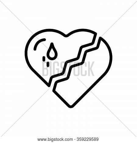 Black Line Icon For Broken-heart Broken Heart Love Split Crack Relationship Cheating Breakup Hate Va