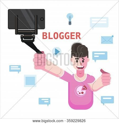 Blogger Making Video For Blog Or Vlog Holds Smartphone On Tripod. Popular Young Video Streamer Blogg