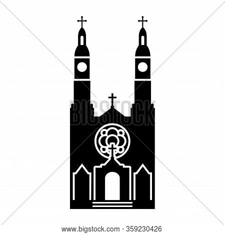 Simple Vector Icon Of  St. Stanislaus Catholic Church In Milwaukee (united States). Black Silhouette