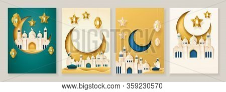 Set Of Card Design For Eid Al Adha And Iftar. Decoration Sign For Ramadan Fasting Greeting With Eid