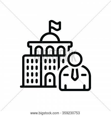 Black Line Icon For Minister Undersecretary Parliament Architecture Government Politician