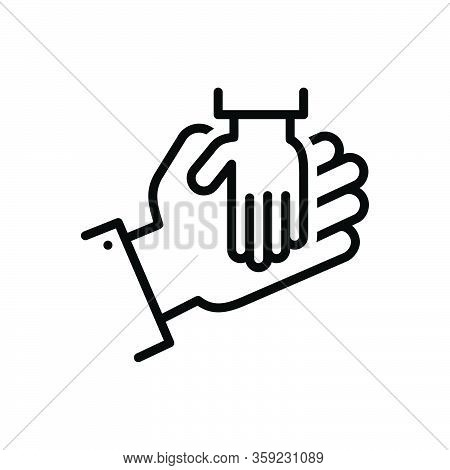 Black Line Icon For Rely Believe Trust-to Confide Charity Care Orphan Adoption Hand