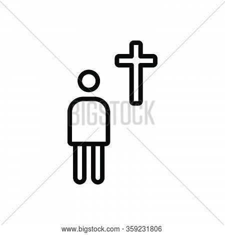 Black Line Icon For Devote Prayer Religion Miracle Christian Church Mythology Belief Ritual Venerate