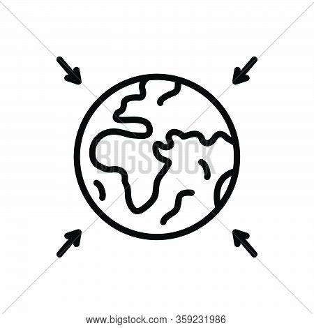 Black Line Icon For Entire Total Overall Thorough Exhaustive Full World Earth Globe