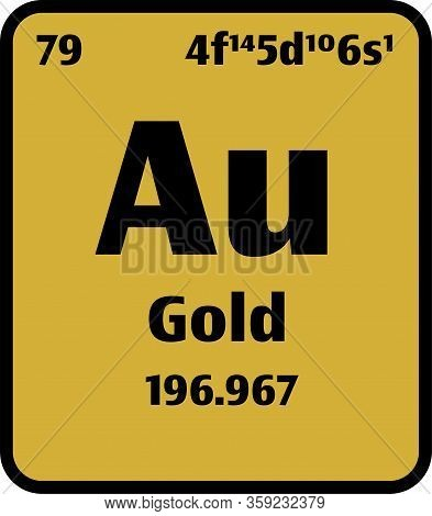 Gold (au) Button On Gold Background On The Periodic Table Of Elements With Atomic Number Or A Chemis