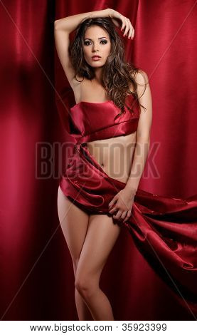 Sexy Lady In Red Fabric