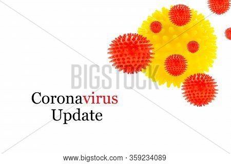 Coronavirus Update Text On White Background. Covid-19 Or Coronavirus
