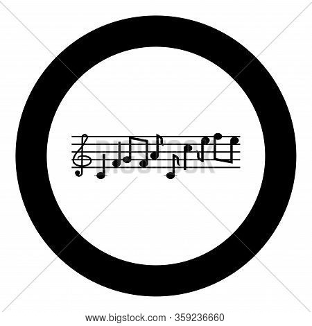 Note Fret Notes Icon In Circle Round Black Color Vector Illustration Flat Style Simple Image