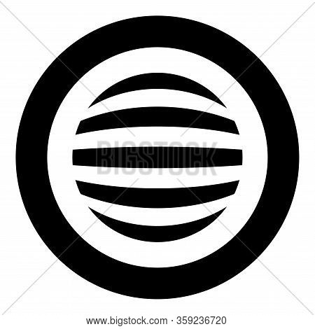 Striped Sphere Concept Globe Abstract Ball Icon In Circle Round Black Color Vector Illustration Flat