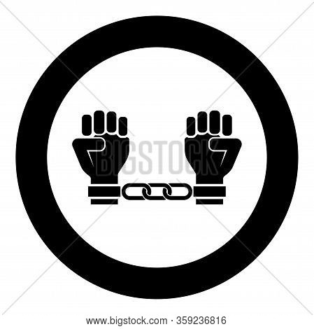 Handcuffed Hands Chained Human Arms Prisoner Concept Manacles On Man Detention Idea Fetters Confine