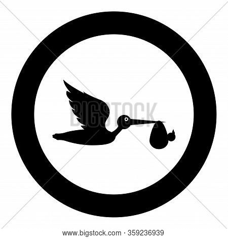 Stork Carries Baby In Bag Flying Bird With Kind In Beak Bundle Icon In Circle Round Black Color Vect