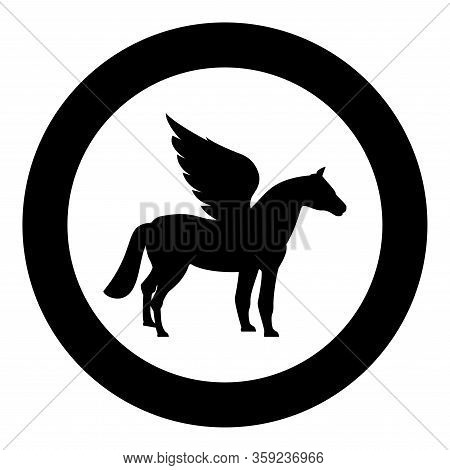 Pegasus Winged Horse Silhouette Mythical Creature Fabulous Animal Icon In Circle Round Black Color V