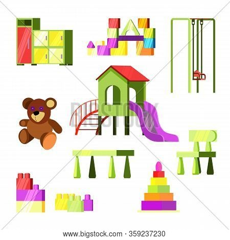 Children Toys And Playground Set. Entertaiment For Kids Collection. Can Be Used For Topics Like Kind