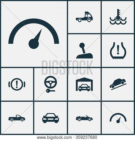 Car Icons Set With Key, Pickup, Hill Descent And Other Van Elements. Isolated Vector Illustration Ca