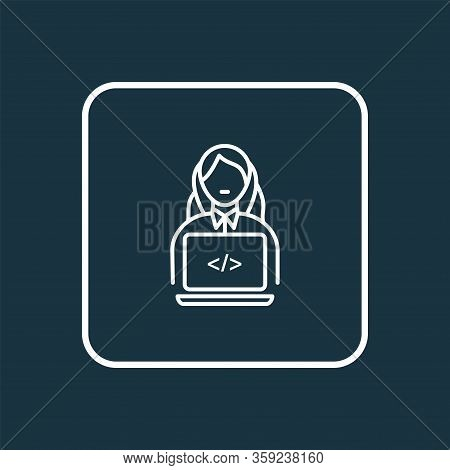 Programmer Woman Icon Line Symbol. Premium Quality Isolated Coder Element In Trendy Style.