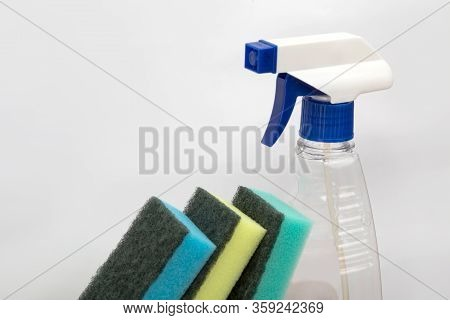 Washcloths And Disinfectants. Antibacterial Cleaning Agent. House Cleaning. Alcohol Solution. Colorf