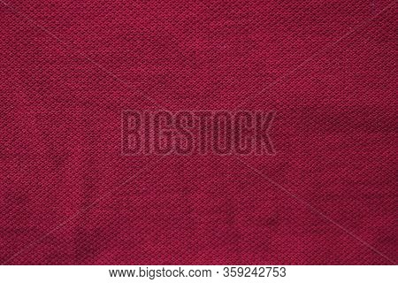 Burgundy Color Fabric Texture, Empty Dark Red Or Purple Colour Background. Blank Cotton Cloth Textur