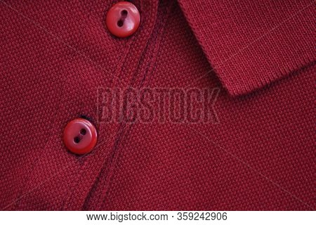 Dark Polo Shirt Close Up Top View. Button-up Burgundy Red Color Short Sleeve T-shirt, Classic Collar