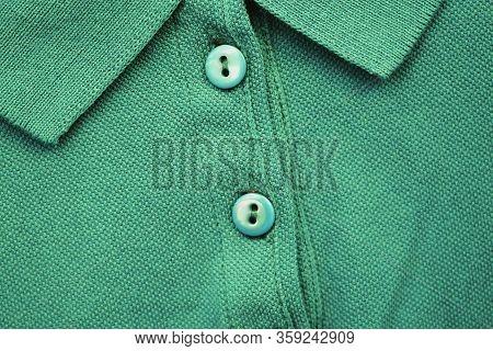 Light Mint Green Shirt Close Up. Plain Pale Green Colour Shirt Fabric Texture, Button-up Top With Co