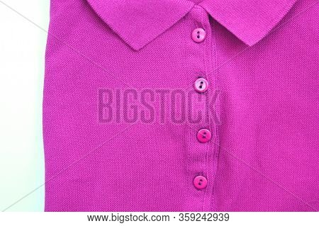 Purple Polo Shirt Casual Clothing Close Up Top View. Buttoned Colorful Collar Neck T-shirt, Light Vi
