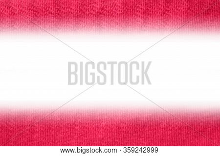 Simple Geometric Banner Design, Dark Red Fabric Pattern With Empty White Copy Space. Horizontal Mini