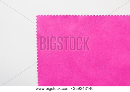 Violet Fabric Texture Detail Isolated On White Background. Velvet Purple Or Soft Pink Color Material