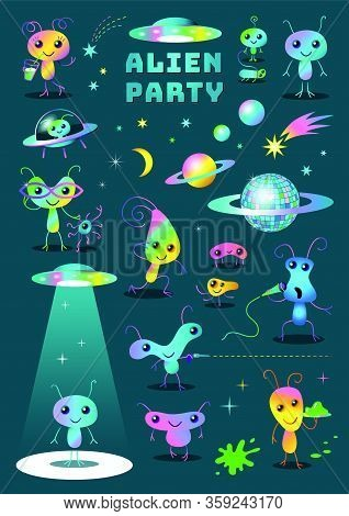 Cute Funny Colorful Alien Party Cartoon Characters Set Clipart For Kids Party On Dark Background