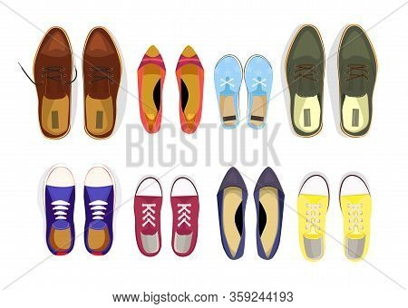 Set Of Various Male And Female Shoes. Closet, Accessory, Fashion. Can Be Used For Topics Like Backgr