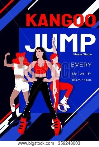 Kangoo Jump High Intensity Interval Training Class Advertisement Poster Template. Females In Sport O