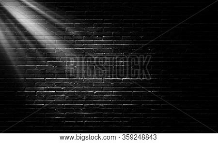 Abstract Image Of Empty Space Black Brick Wall Grunge Texture Background With  Light Shading On Wall
