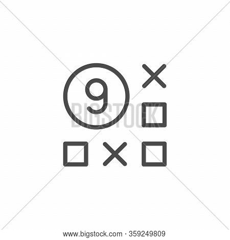 Lotto Game Line Outline Icon Isolated On White. Lottery, Lotto Game, Casino Concept. Ball With Numbe