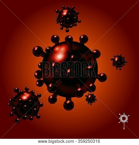 3d Illustration Of Red Coronavirus Covid-19 Molecules With Light Reflections And White Icon Over Red