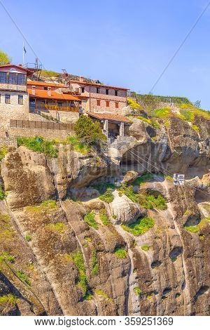The Great Meteoron Monastery And Cable Car With Supplies For Monks In Kalambaka, Trikkala, Greece