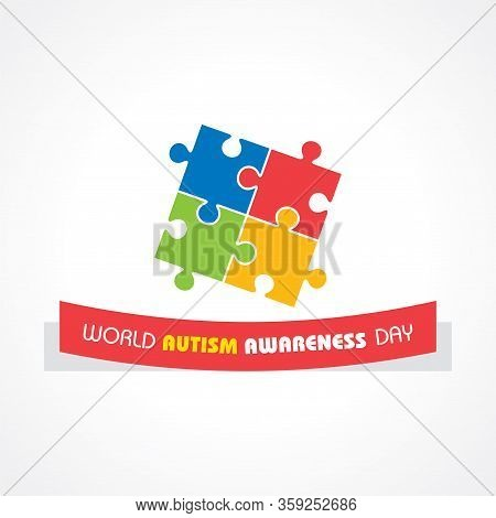 World Autism Awareness Day With Colorful Puzzles Vector Background. Symbol Of Autism.