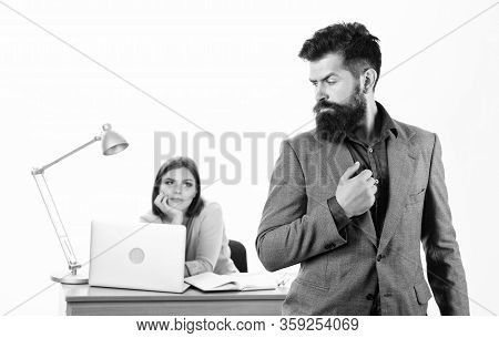 Hipster Businessman. Hipster With Long Beard In Formal Wear. Confident Hipster And Coworker In Offic